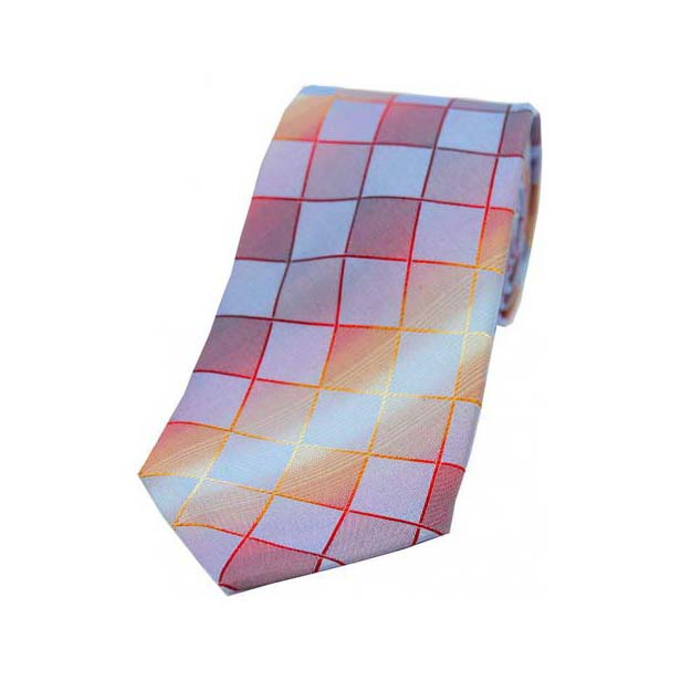 Burnt Orange, Wine and Blue Squares Jacquard Print Woven Silk Tie
