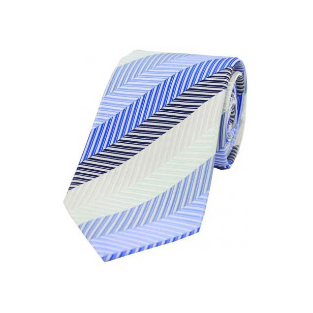 Shades of Blue with Beige Stripes Woven Silk Tie
