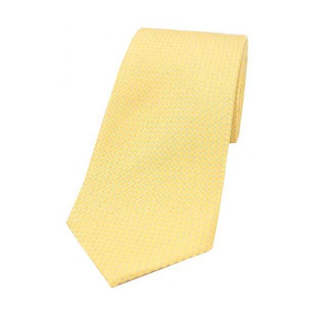 Plain Gold Box Weave Woven Silk Tie