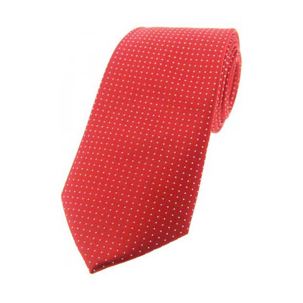 Red Pin Dot Woven Silk Tie