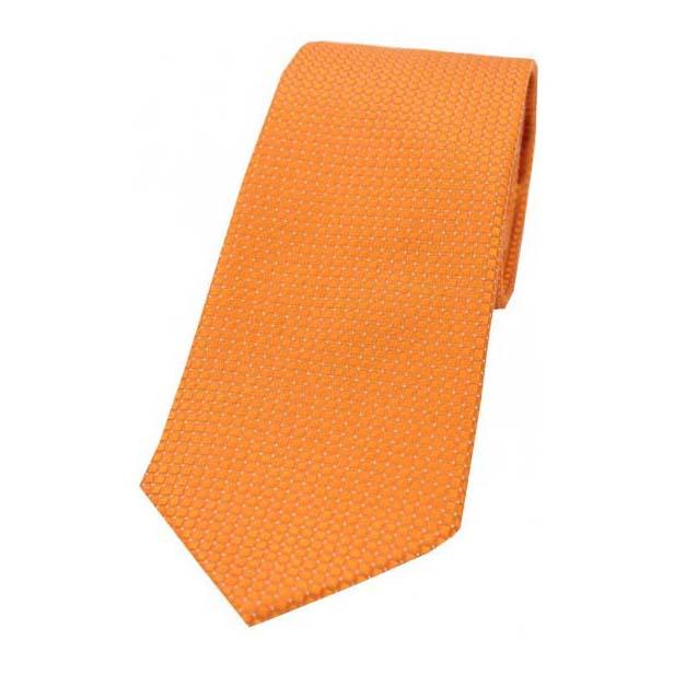 Plain Orange Box Weave Woven Silk Tie