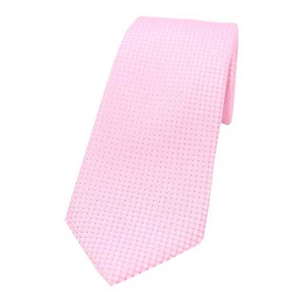 Plain Pink Box Weave Woven Silk Tie
