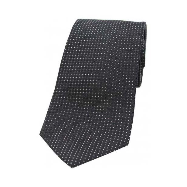 Plain Black Box Weave Woven Silk Tie
