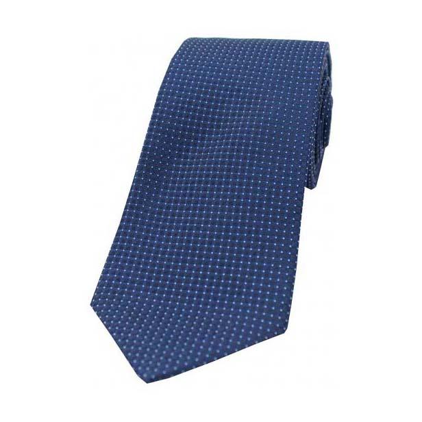 Plain Navy Box Weave Woven Silk Tie