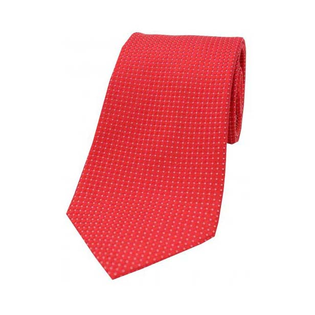 Plain Red Box Weave Woven Silk Tie