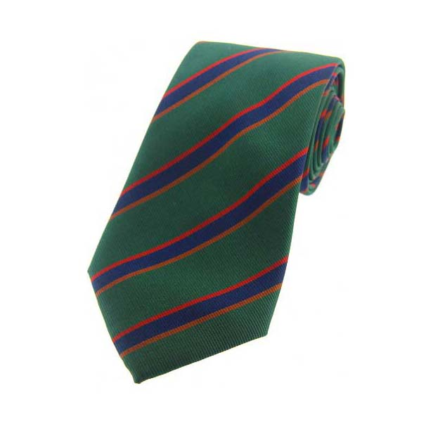 Green, Red and Blue Striped Silk Tie