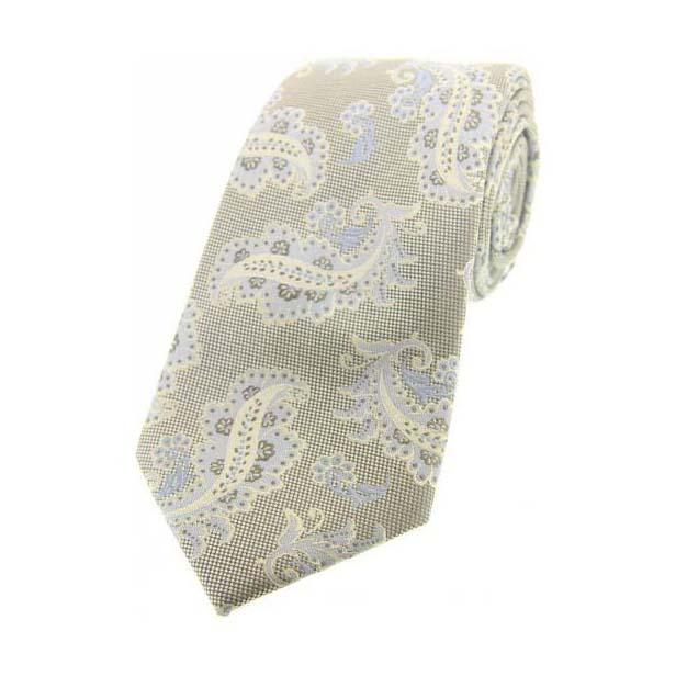 Stone Floral Pattern Woven Silk Tie