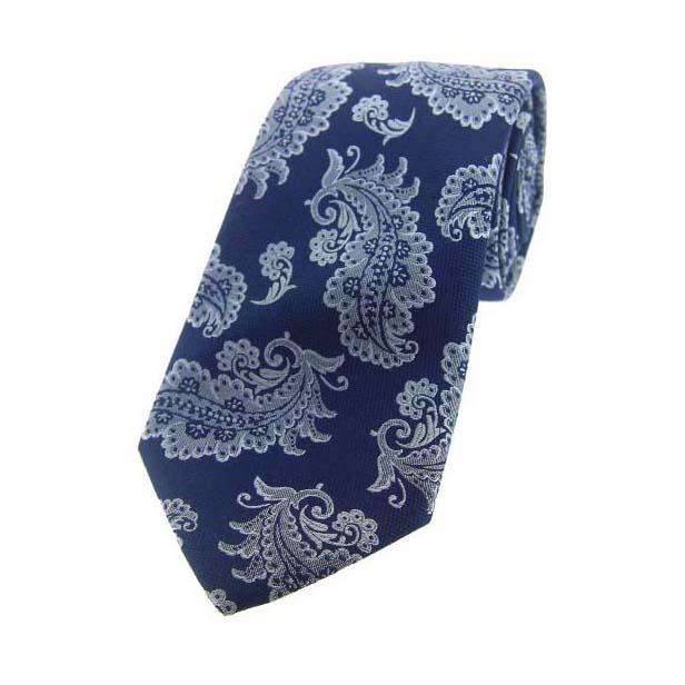 Navy Floral Pattern Woven Silk Tie