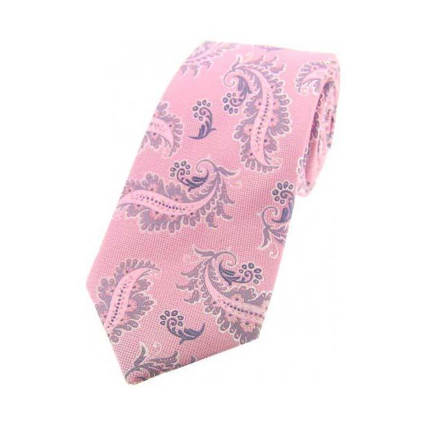 Pink Floral Pattern Woven Silk Tie