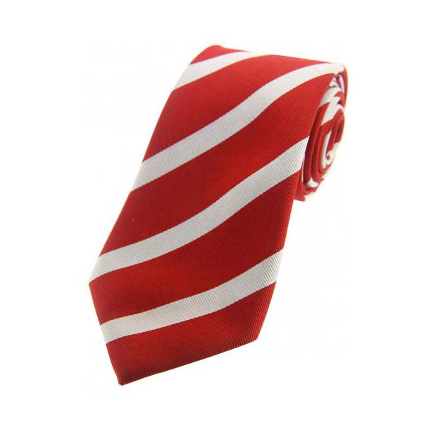 Thick Red and White Striped Silk Tie