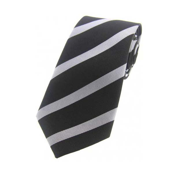 Black and Grey Striped Woven Silk Tie