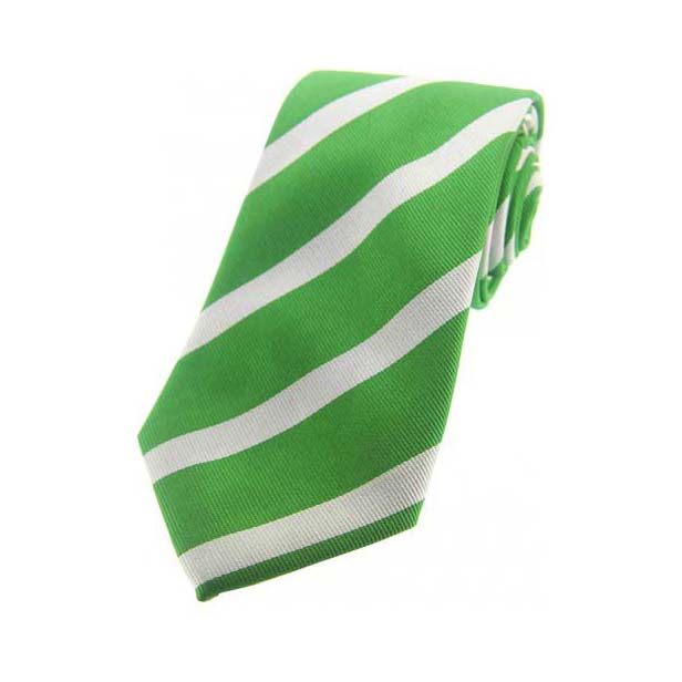 Thick Green and White Striped Silk Tie