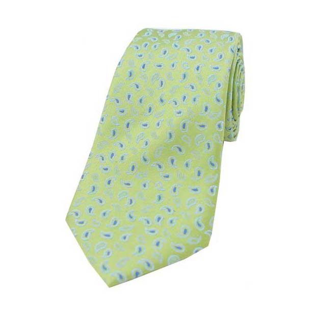 Lime Green Small Paisley Woven Silk Tie