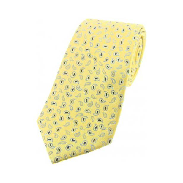 Yellow Small Paisley Woven Silk Tie