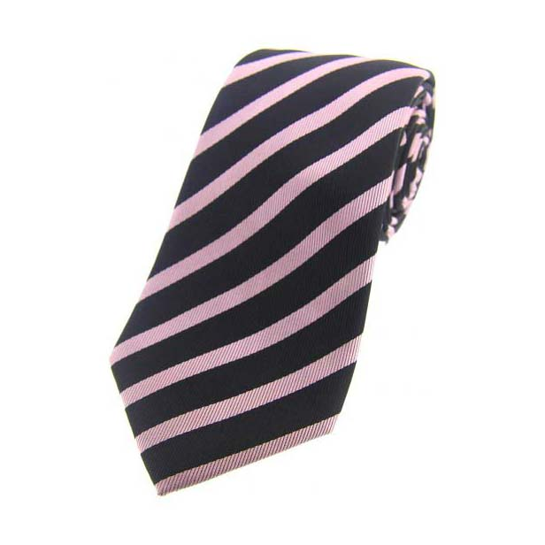 Navy and Pink Striped Silk Tie