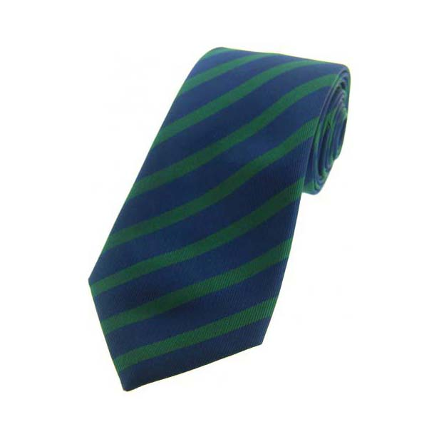 Green and Navy Striped Silk Tie