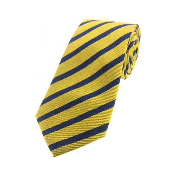 Pastel Yellow and Navy Striped Silk Tie