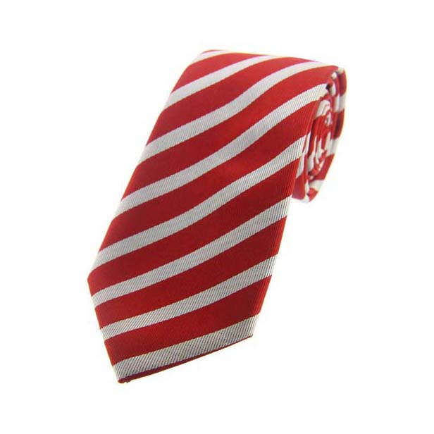 Red & White Stripes Silk Tie