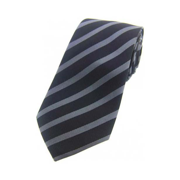 Black and Grey Striped Silk Tie