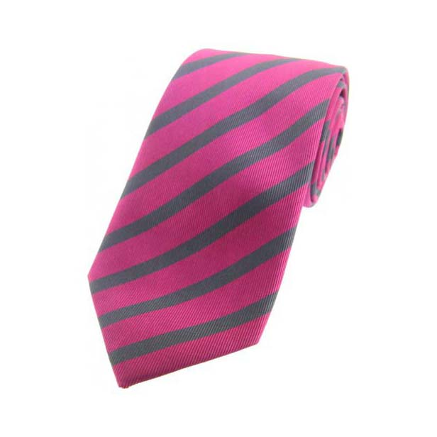 Fuchsia and Grey Striped Silk Tie