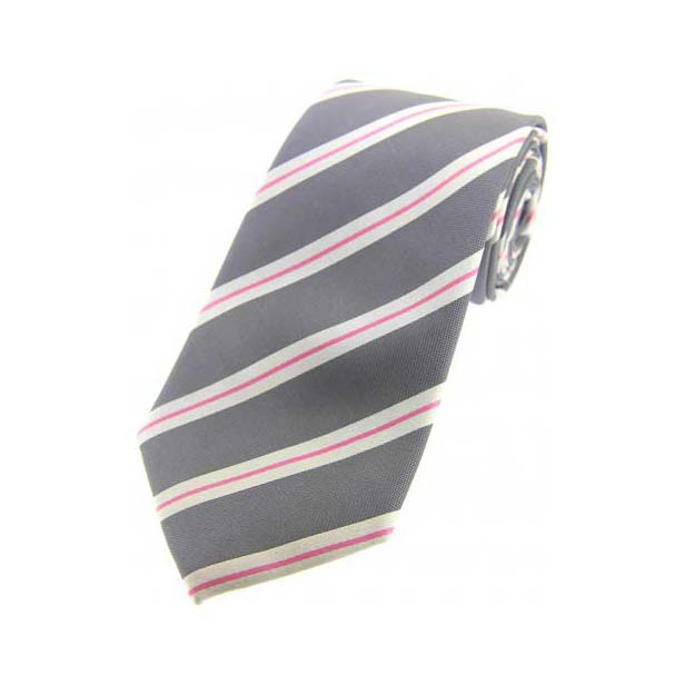 Grey, White and Pink Striped Silk Tie