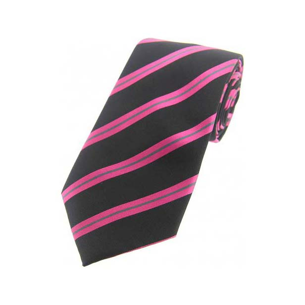 Black, Pink & Grey Diagonal Stripes Silk Tie