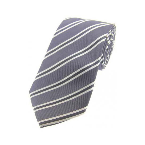 Grey, White and Black Striped Silk Tie
