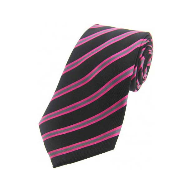 Black, Pink and Grey Striped Silk Tie
