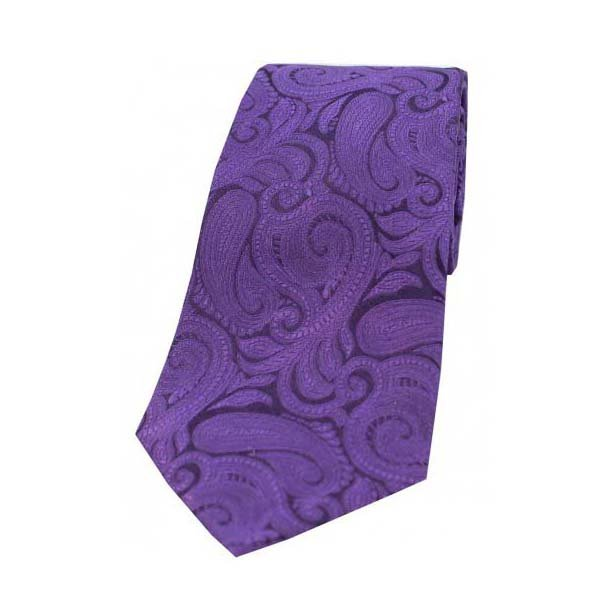 Purple Large Paisley Woven Silk Tie