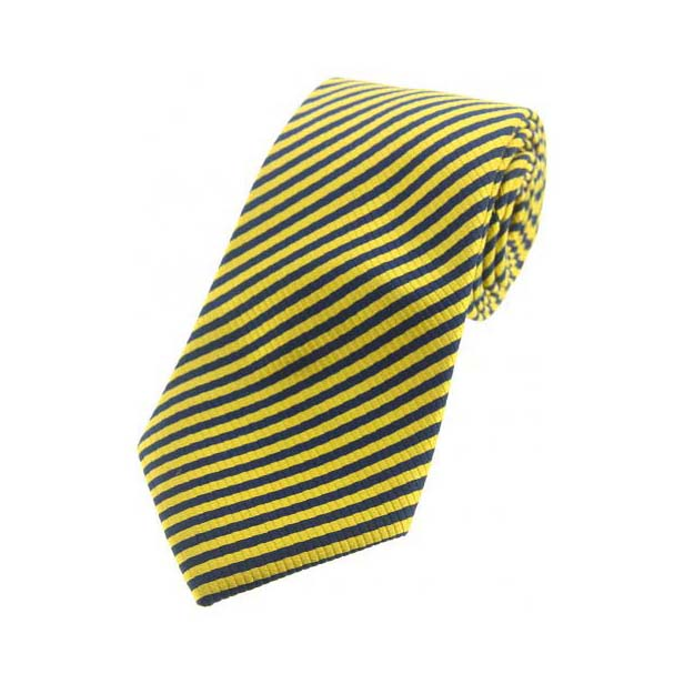 Yellow and Navy Striped Silk Tie