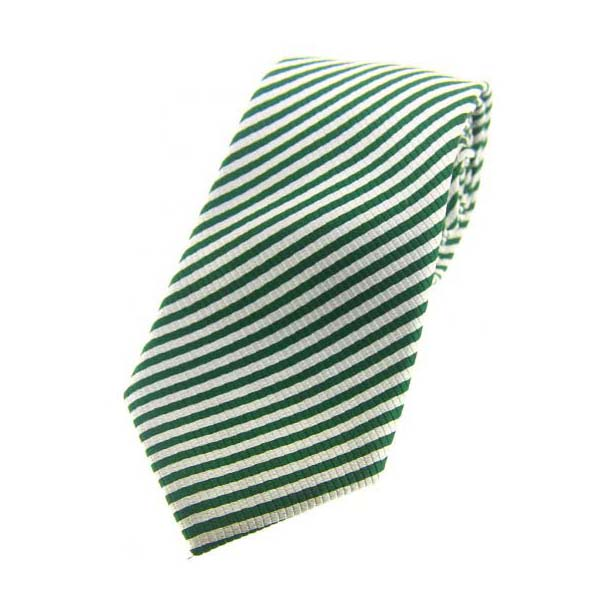 Green and White Striped Silk Tie