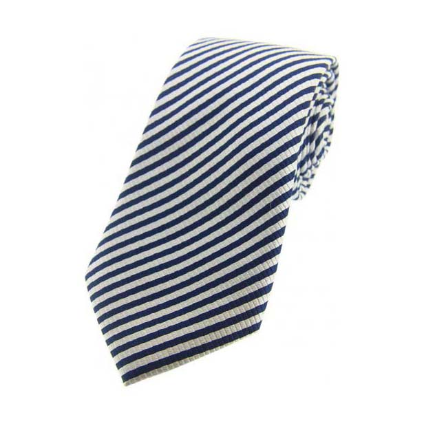 Navy and Silver Striped Woven Silk Tie