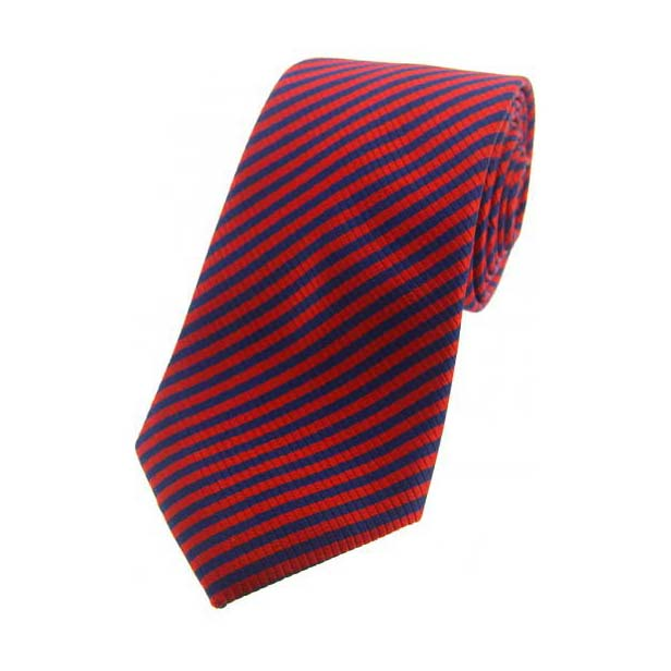 Red and Navy Striped Silk Tie