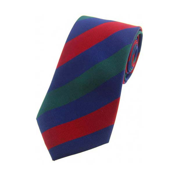 Red, Blue and Green Striped Silk Tie