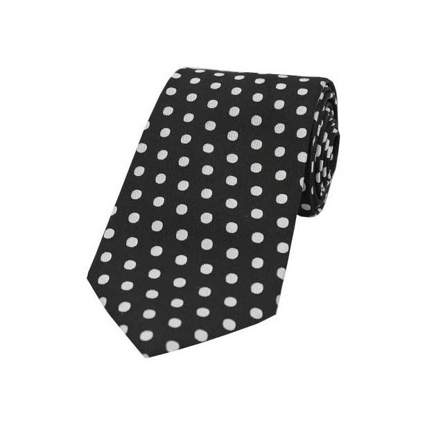 Black and White Large Polka Dot Silk Tie