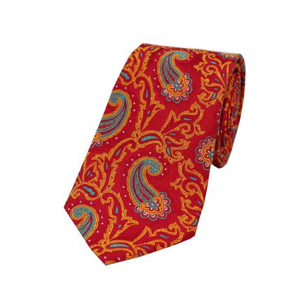 Large Edwardian Paisley on Red and Orange Silk Tie