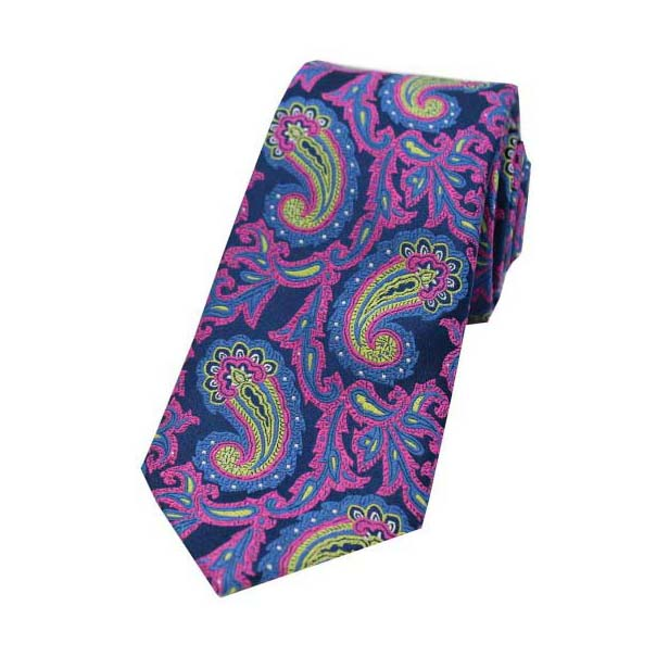 Large Edwardian Paisley on Navy and Pink Silk Tie
