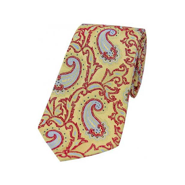 Large Edwardian Paisley on Gold and Red Silk Tie