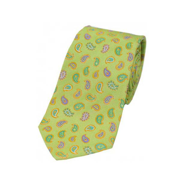 Multi Coloured Teardrop Paisley on Lime Green Silk Tie