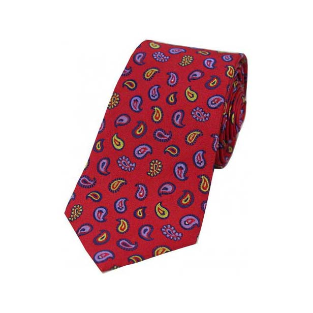 Multi Coloured Teardrop Paisley on Red Silk Tie