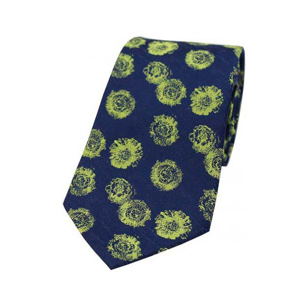 Lime Green Abstract Rose Pattern on a Navy Silk Tie