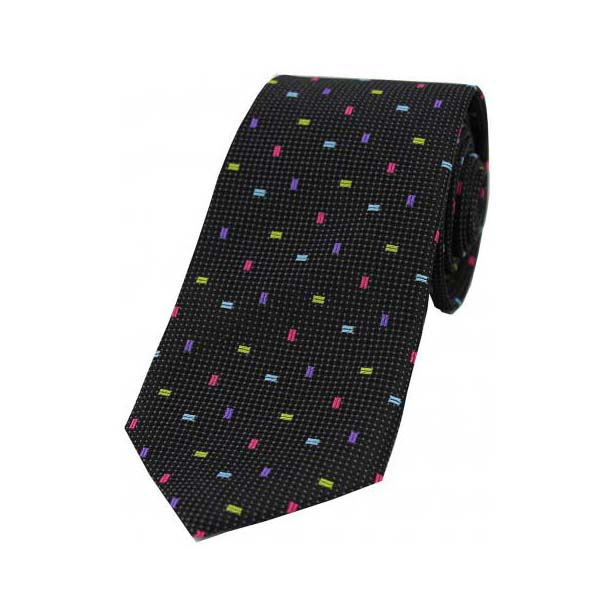 Multi Coloured Small Rectangle Pattern on Black Silk Tie