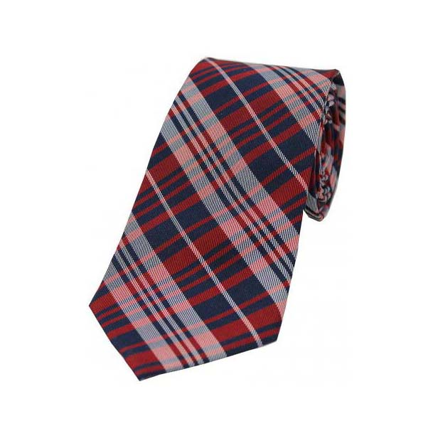 Red Tartan Pattern Silk Tie