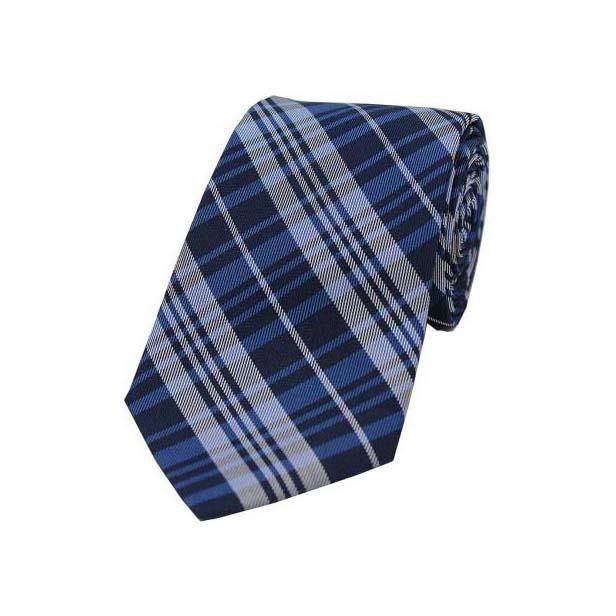 Blue Tartan Pattern Silk Tie