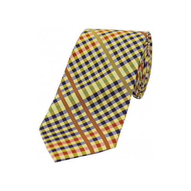 Multi Coloured Tartan Pattern on Gold Ground Tie