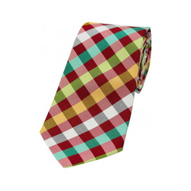Multi Coloured Checks on Red Silk Tie