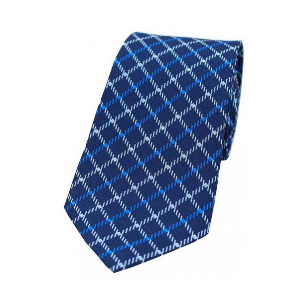 Navy, White and Blue Checked Pattern Silk Tie