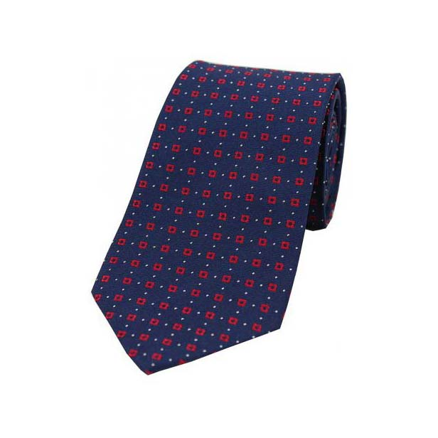 Neat Red Box Pattern on a Navy Silk Tie