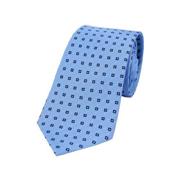 Neat Navy Box Pattern on Light Blue Silk Tie