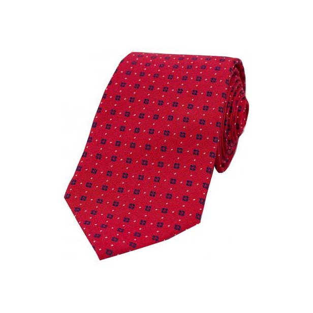 Neat Navy Box Pattern on Red Silk Tie